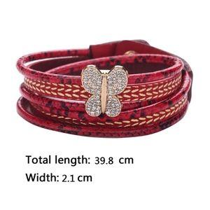 Jewelry - Butterfly Navy Leather Snake Skin Wrap Bracelet